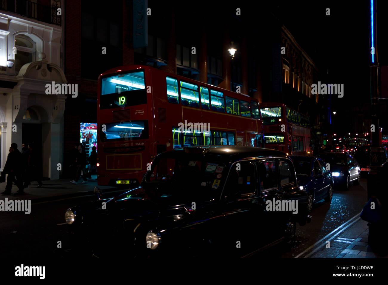 London Bus Nightime - Stock Image