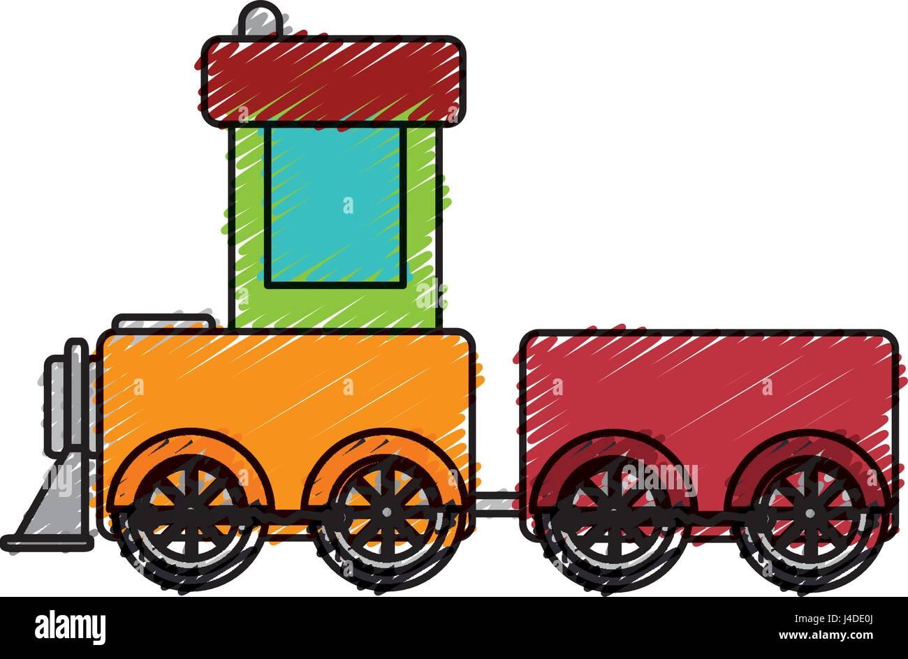 cute train toy icon Stock Vector