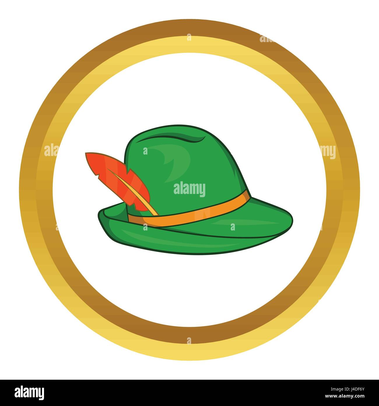 Green hat with a feather vector icon - Stock Image