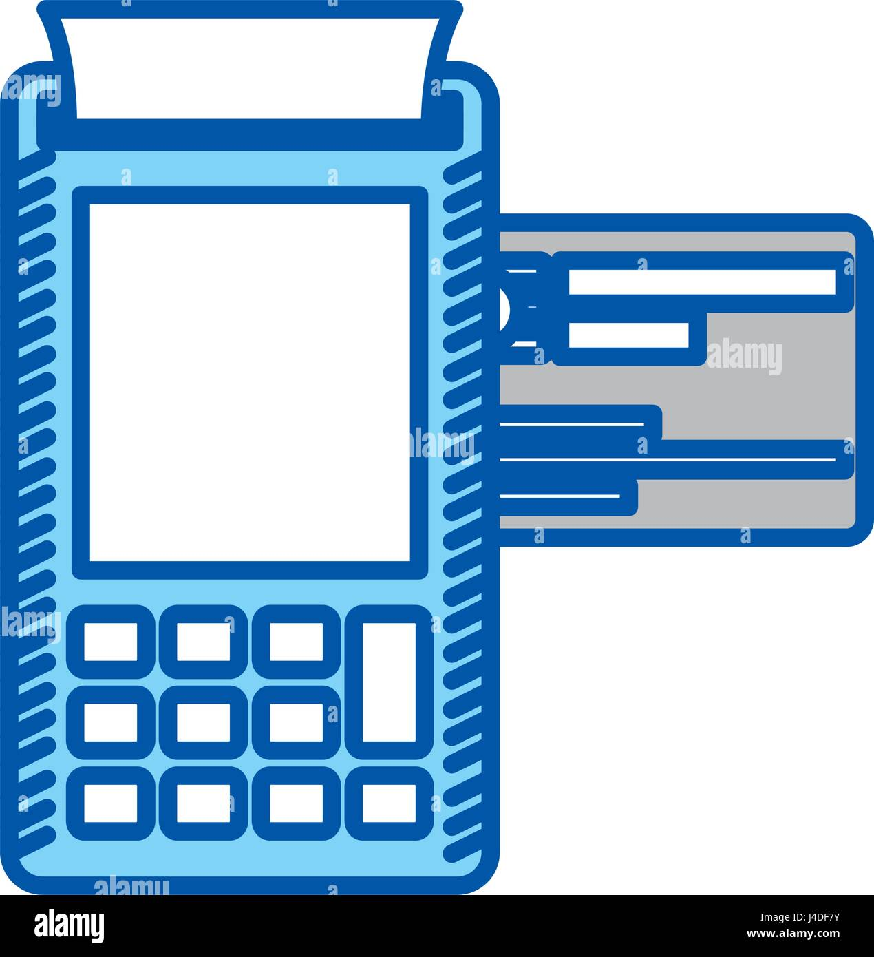blue contour of payment terminal with credit card Stock Vector