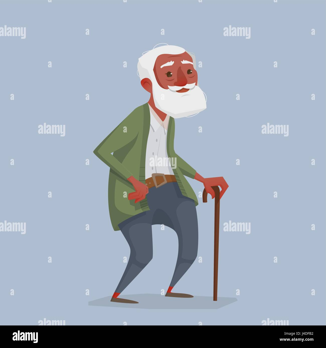 an old african man with a beard and a cane. a cartoon character is