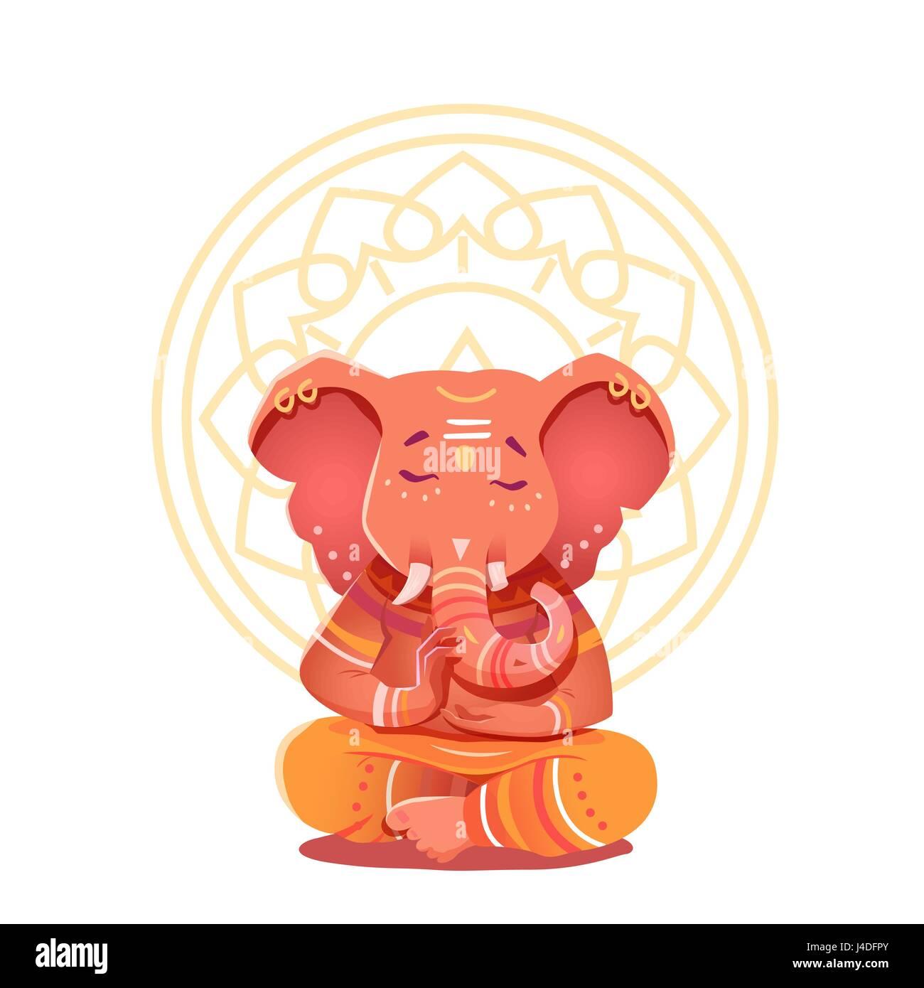 Ganesha Illustration in the lotus position. Mythological deities of India. Vector illustration of a deity with elephant - Stock Image