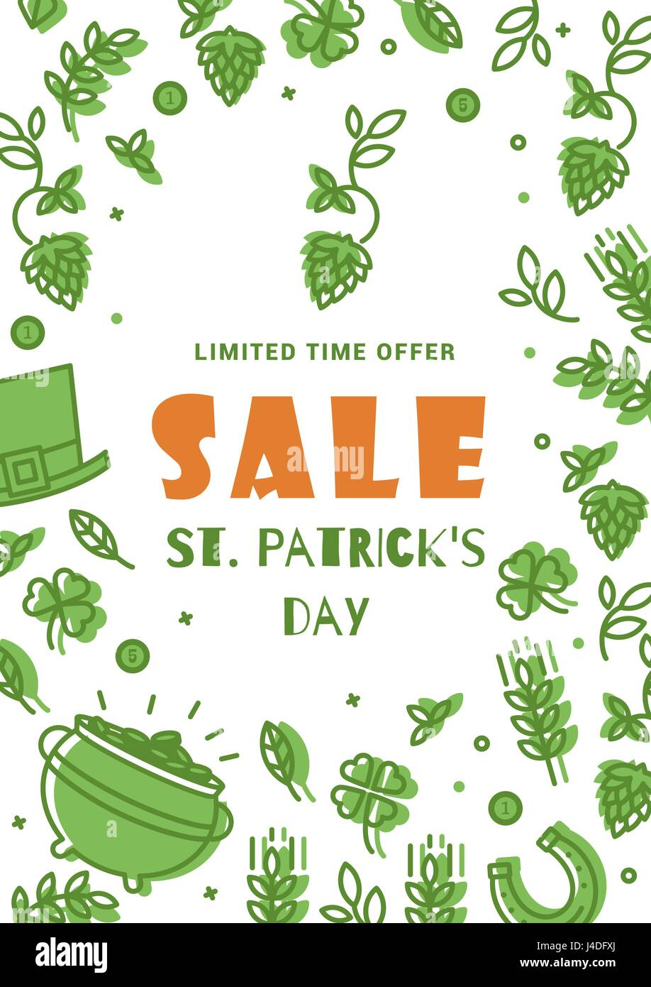 flyer sale on st patrick s day simple design in a thin line