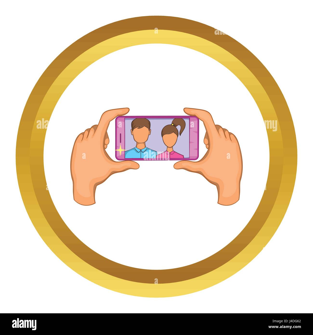 Hands photographed on a cell phone vector icon - Stock Vector