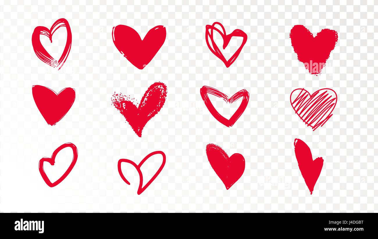 Collection Of Doodle Red Hearts On A Transparent Background Stock