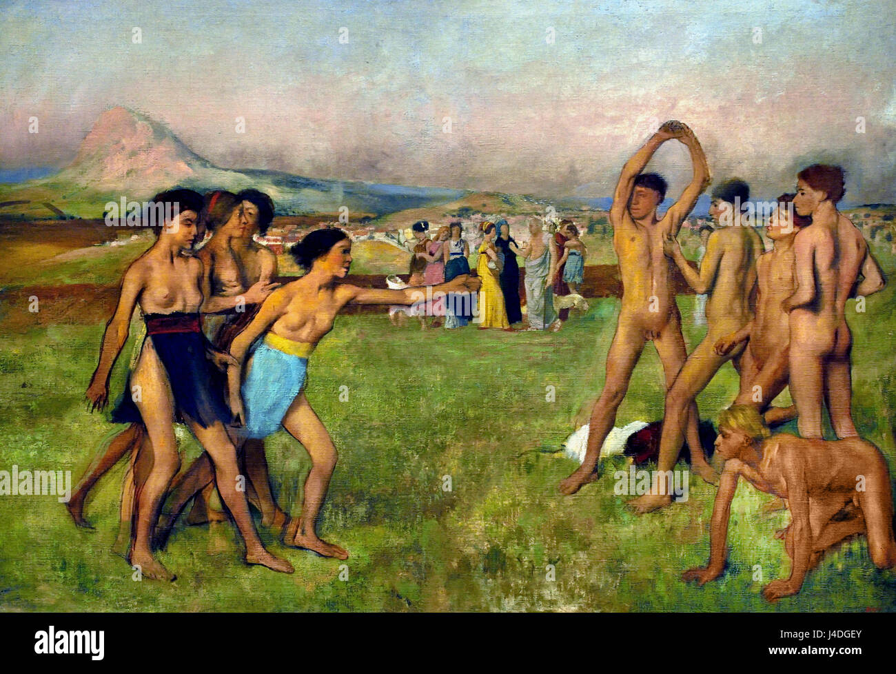 Young Spartans Exercising 1860 by  Hilaire Germain Edgar Degas 1834-1917 France French ( Plutarch writes of Lycurgus, - Stock Image