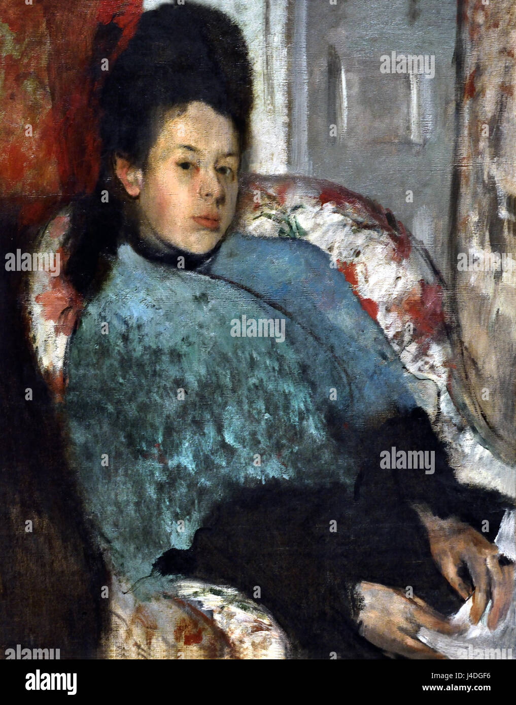 Portrait of Elena Carafa 1875 Hilaire Germain Edgar Degas 1834-1917 France French - Stock Image