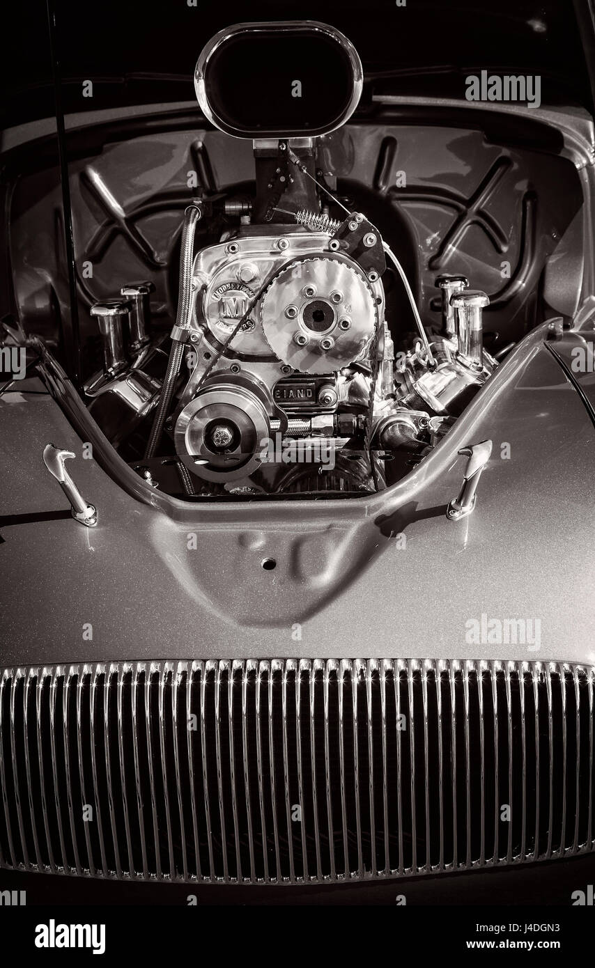 The mustle engine in a 1930's Willys classic car. - Stock Image