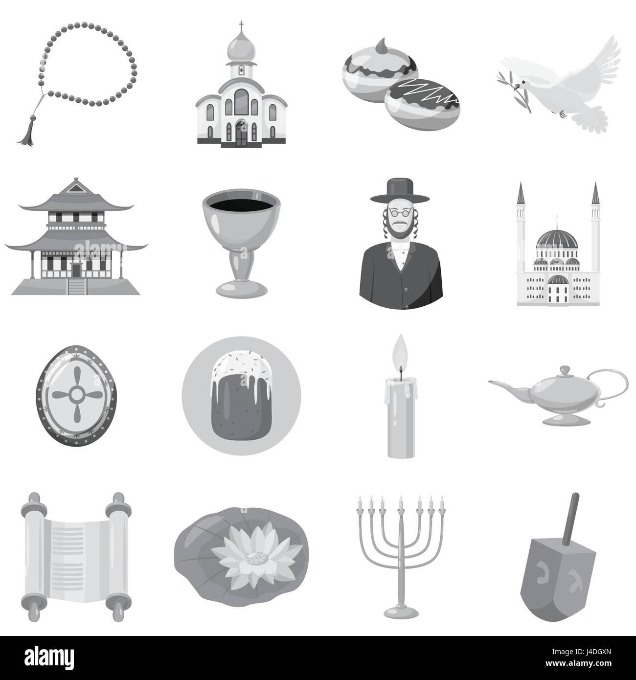 Judaism church traditional symbols icons set - Stock Image