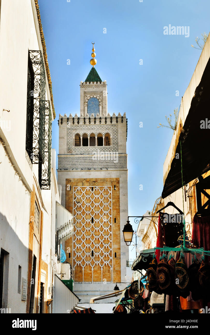 Mosque mosque Jamaa Ez Zitouna in the Medina of the city of Tunis, in Tunisia, Africa - Stock Image