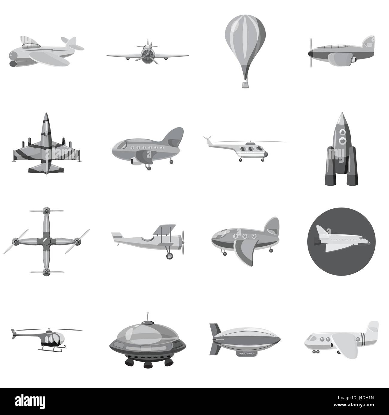 Aircraft icons set, gray monochrome style Stock Vector