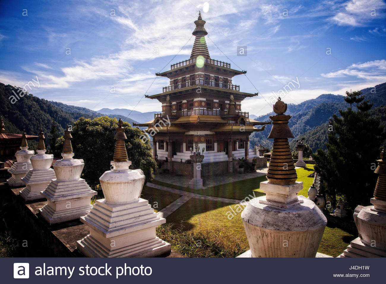 Khamsum Yuelly Namgyal Chorten is located at the North end of the Punakha Vally, Bhutan. - Stock Image