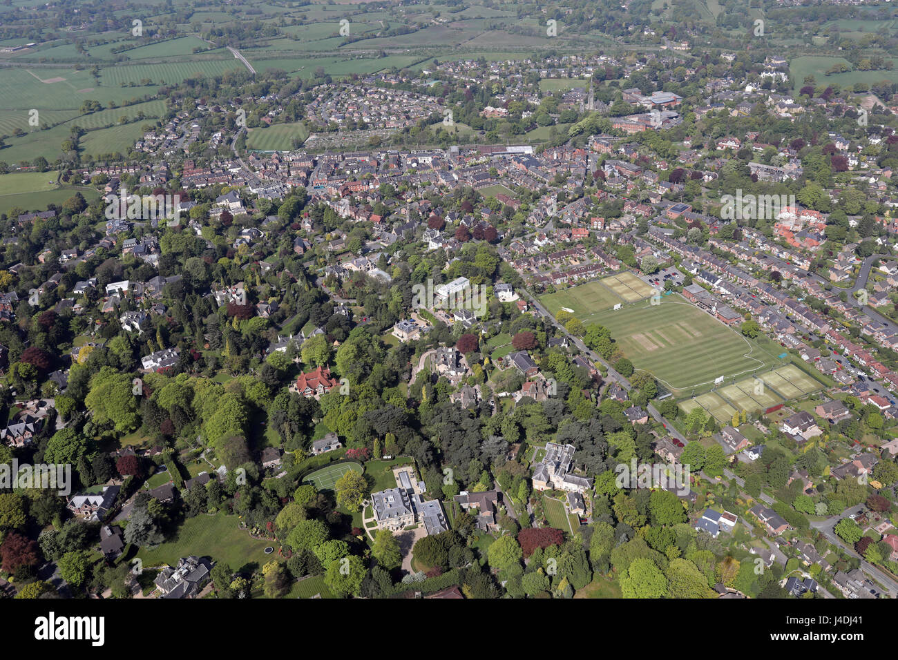 aerial view of Alderley Edge looking down Mottram Road towards the town centre, Cheshire, UK - Stock Image