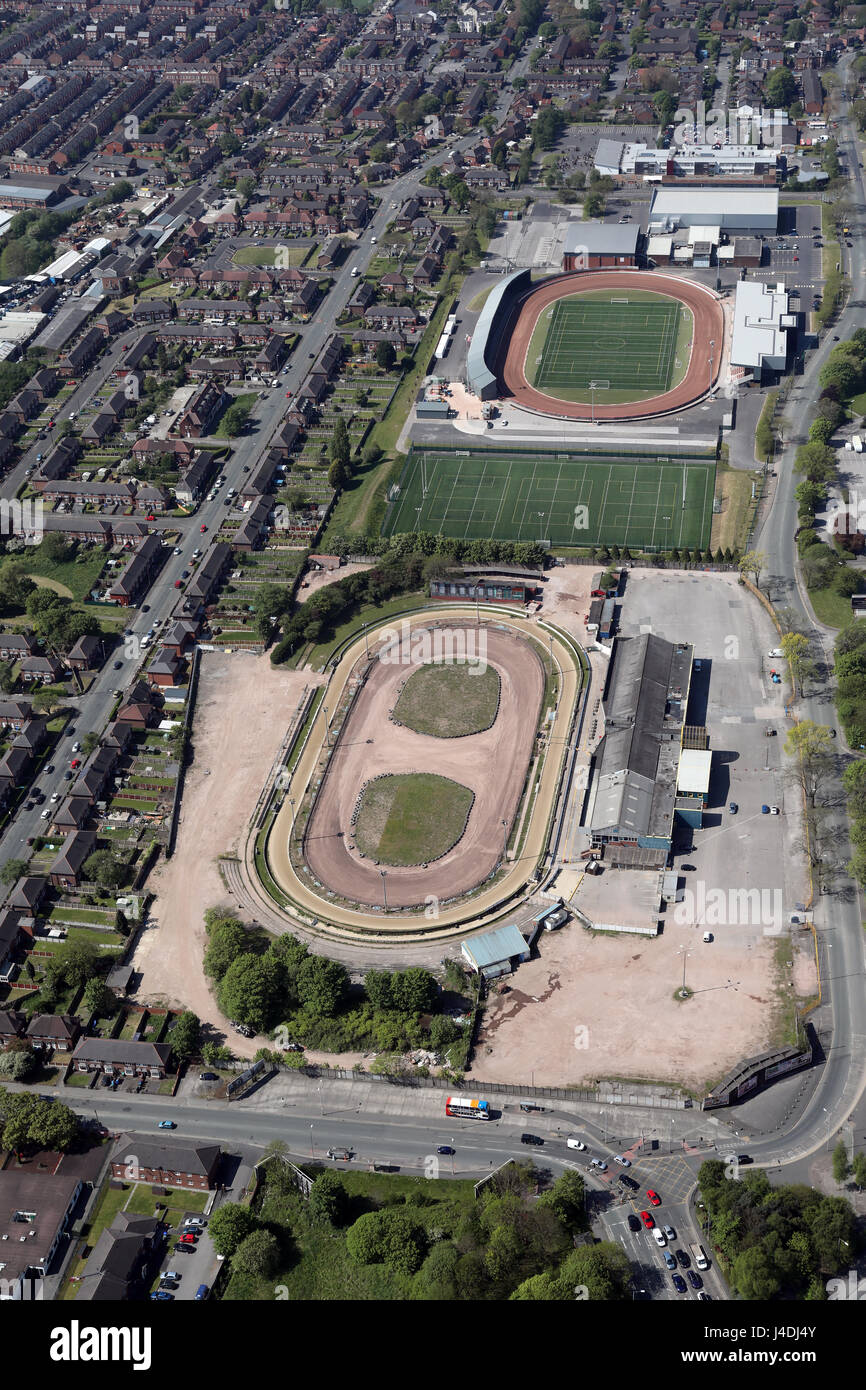 aerial view of Belle Vue Speedway Stadium & Dog Track, Manchester, UK - Stock Image