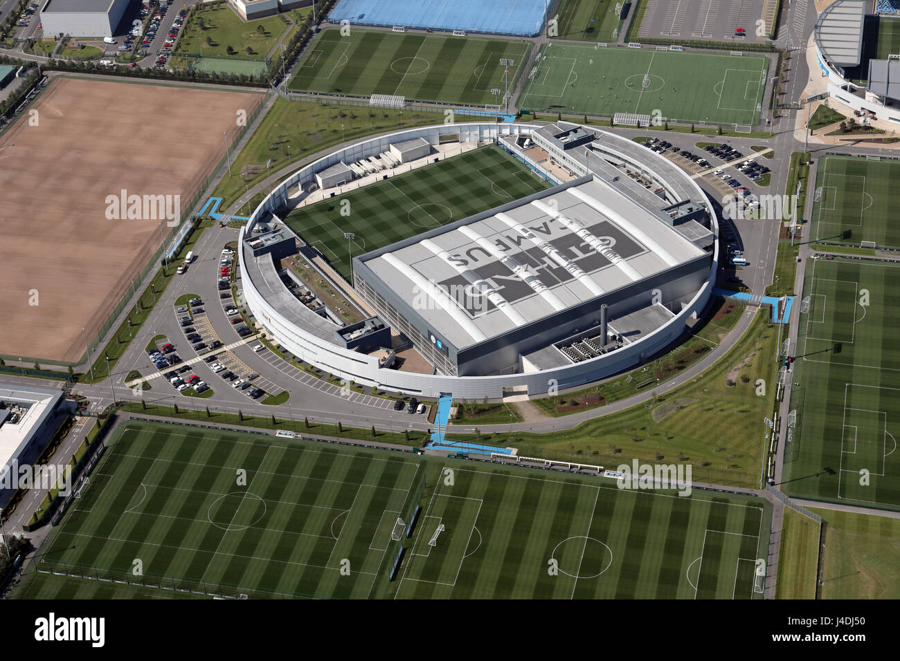 aerial view of the Etihad Campus a Manchester City training facility - Stock Image