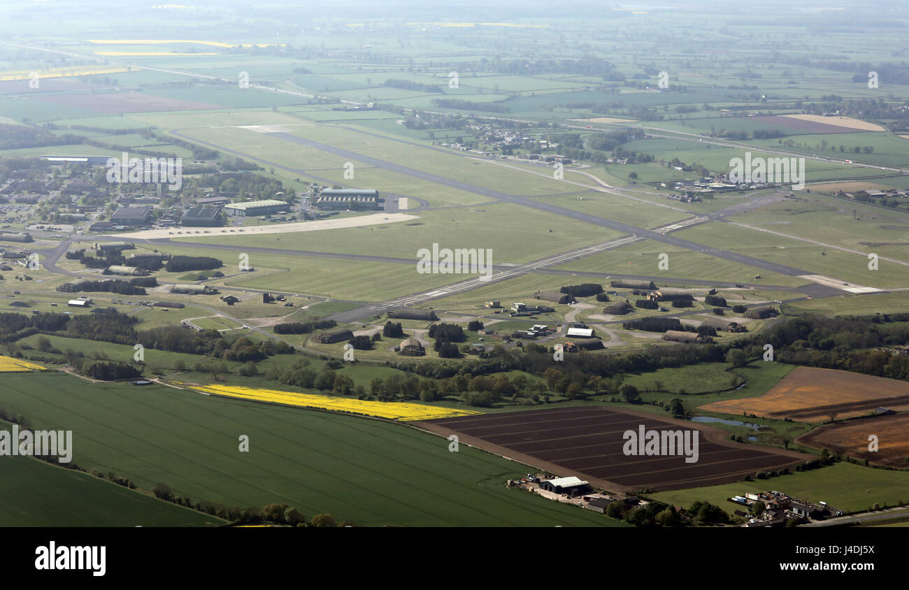 aerial view of a Tornado Jet Fighter on the runway about to take-off at RAF Leeming, North Yorkshire, UK Stock Photo