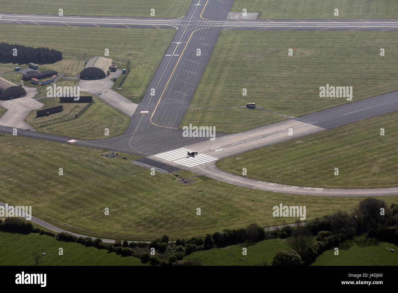 aerial view of a Tornado Jet Fighter on the runway about to take-off at RAF Leeming, North Yorkshire, UK - Stock Image