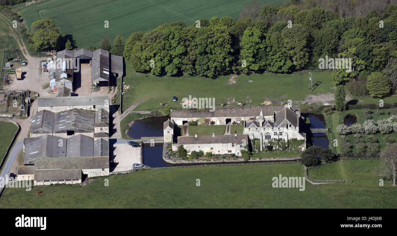 aerial view of Markefield Hall near Ripon, North Yorkshire - Stock Image