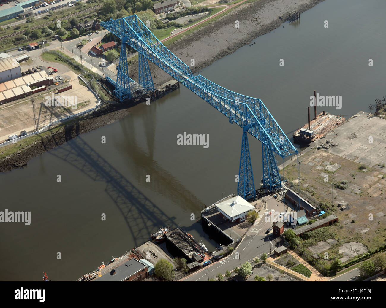 aerial view of the famous Middlesbrough Transporter Bridge, Teesside, UK - Stock Image