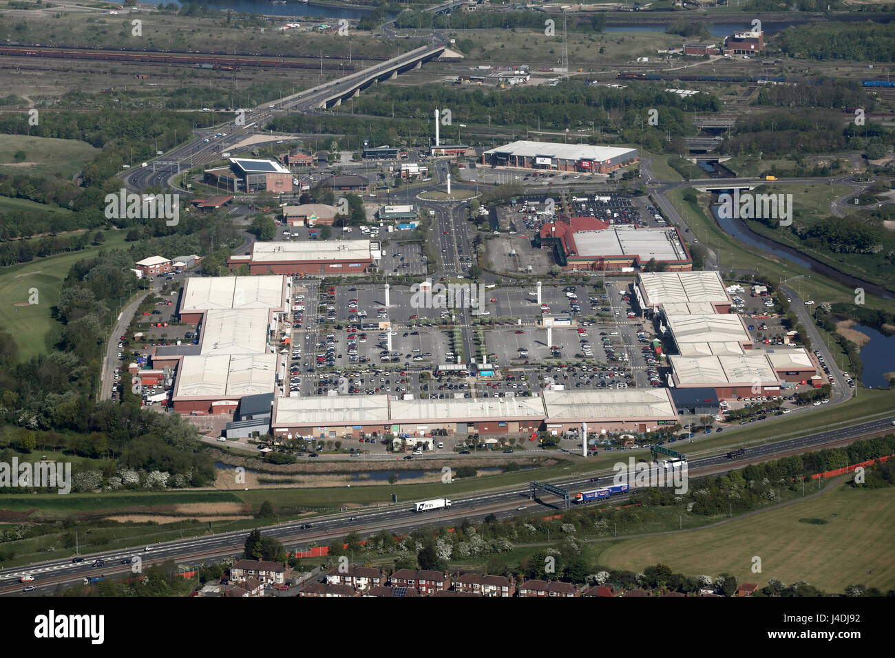 aerial view of Teesside Shopping Park, Stockton on Tees, UK Stock Photo