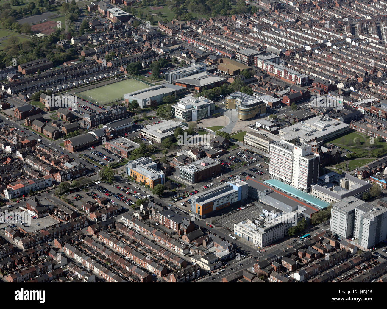 aerial view of Teesside University, Middlesbrough, UK Stock Photo