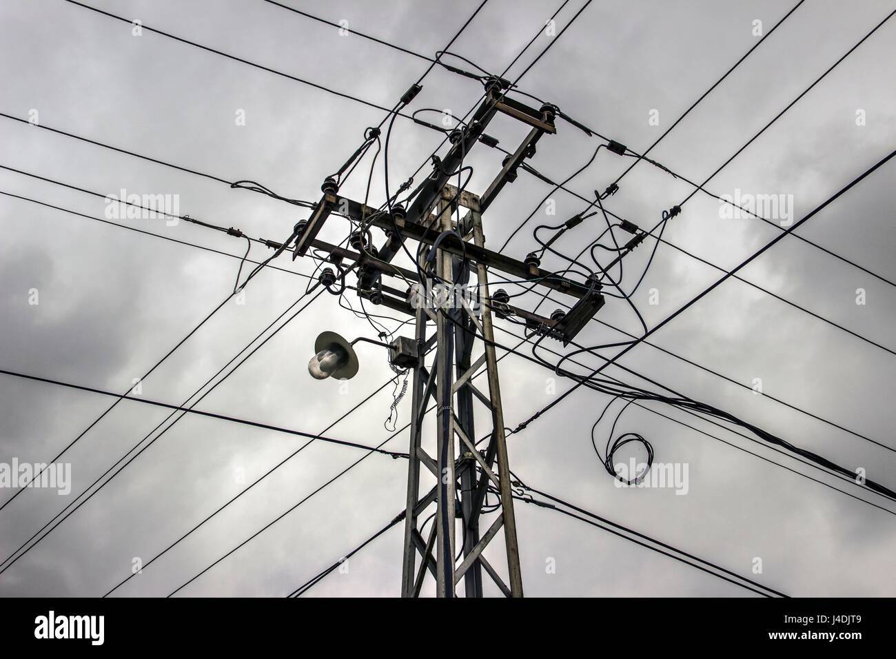 Utility power pole supporting wires Stock Photo: 140441737 - Alamy