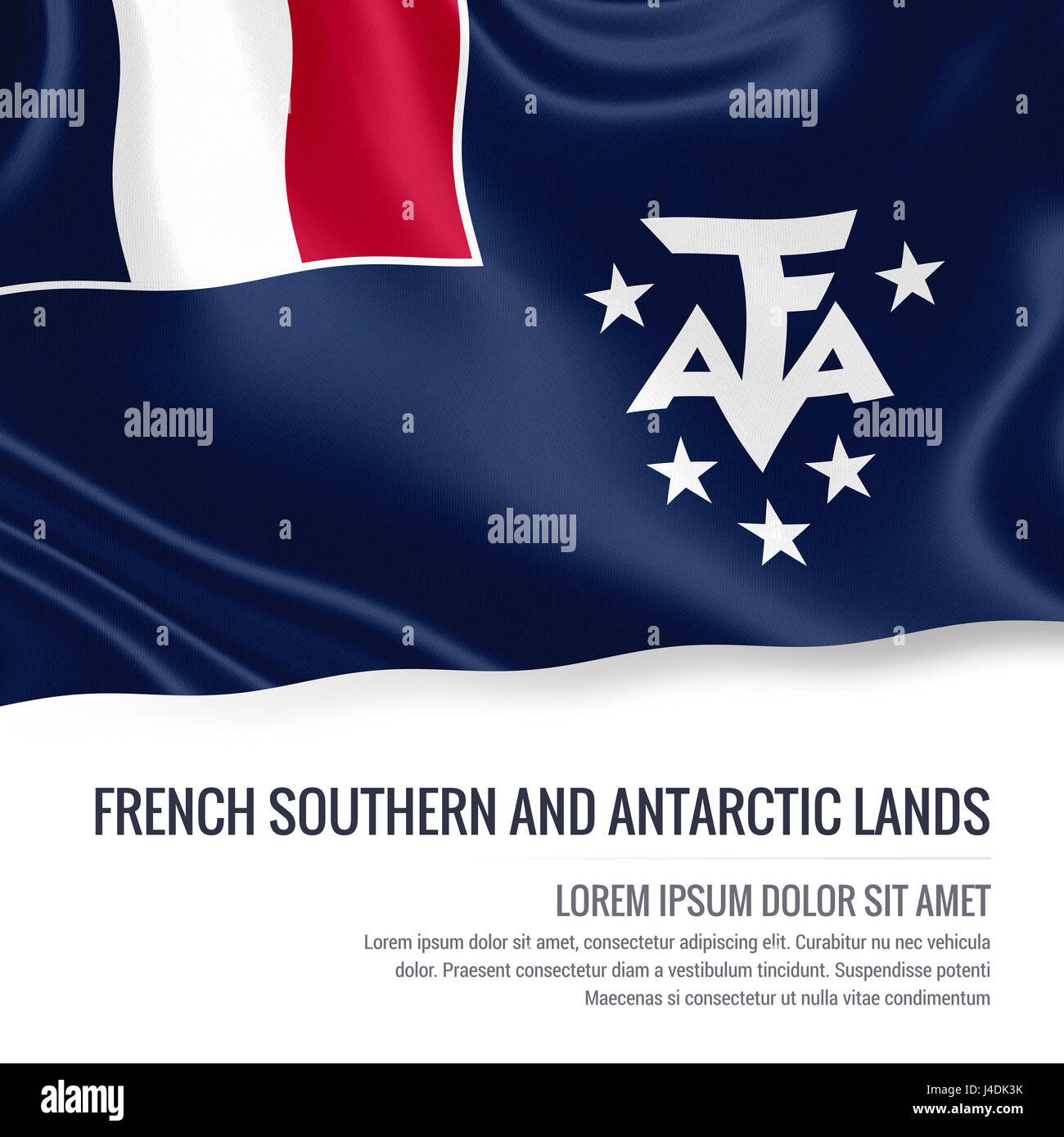French Southern and Antarctic Lands flag. Silky flag of French Southern and Antarctic Lands waving on an isolated - Stock Image