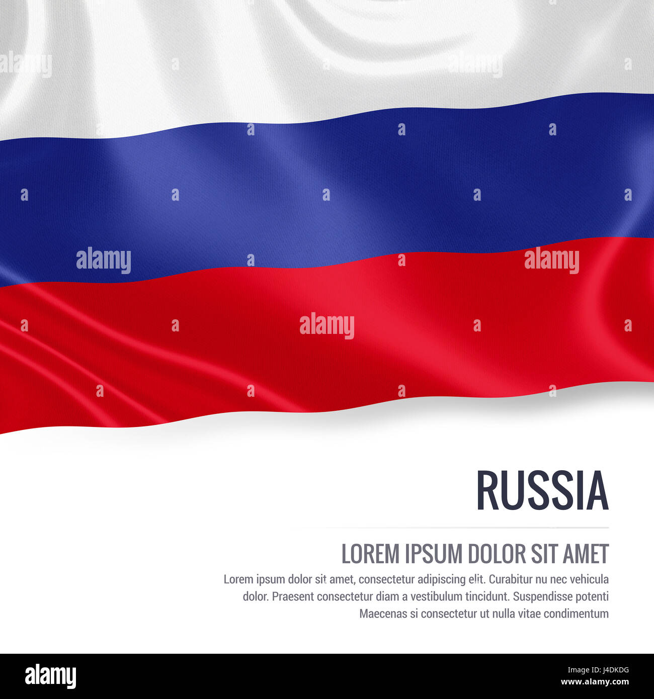 Silky flag of Russia waving on an isolated white background with the white text area for your advert message. 3D - Stock Image