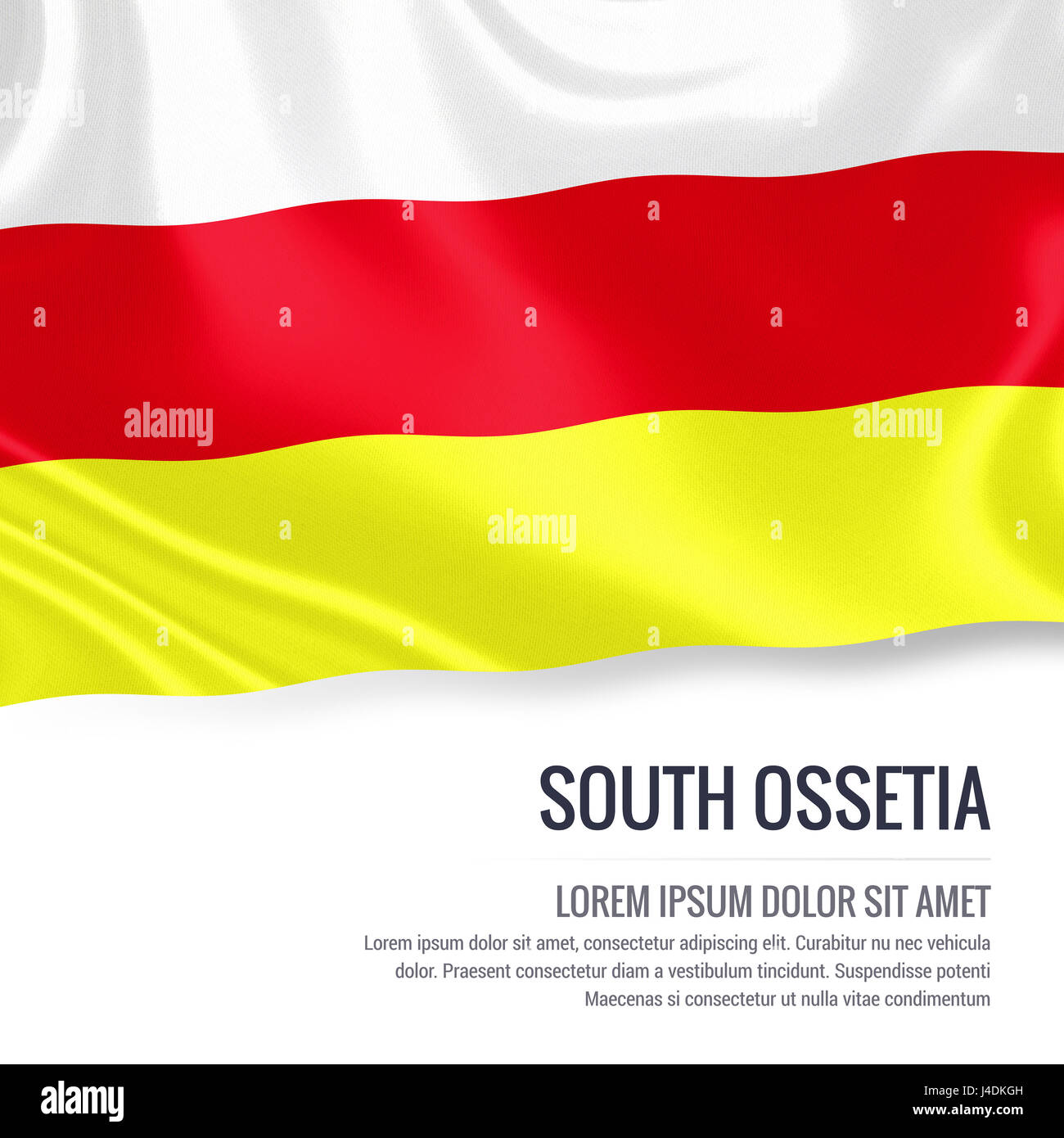 Silky flag of South Ossetia waving on an isolated white background with the white text area for your advert message. - Stock Image