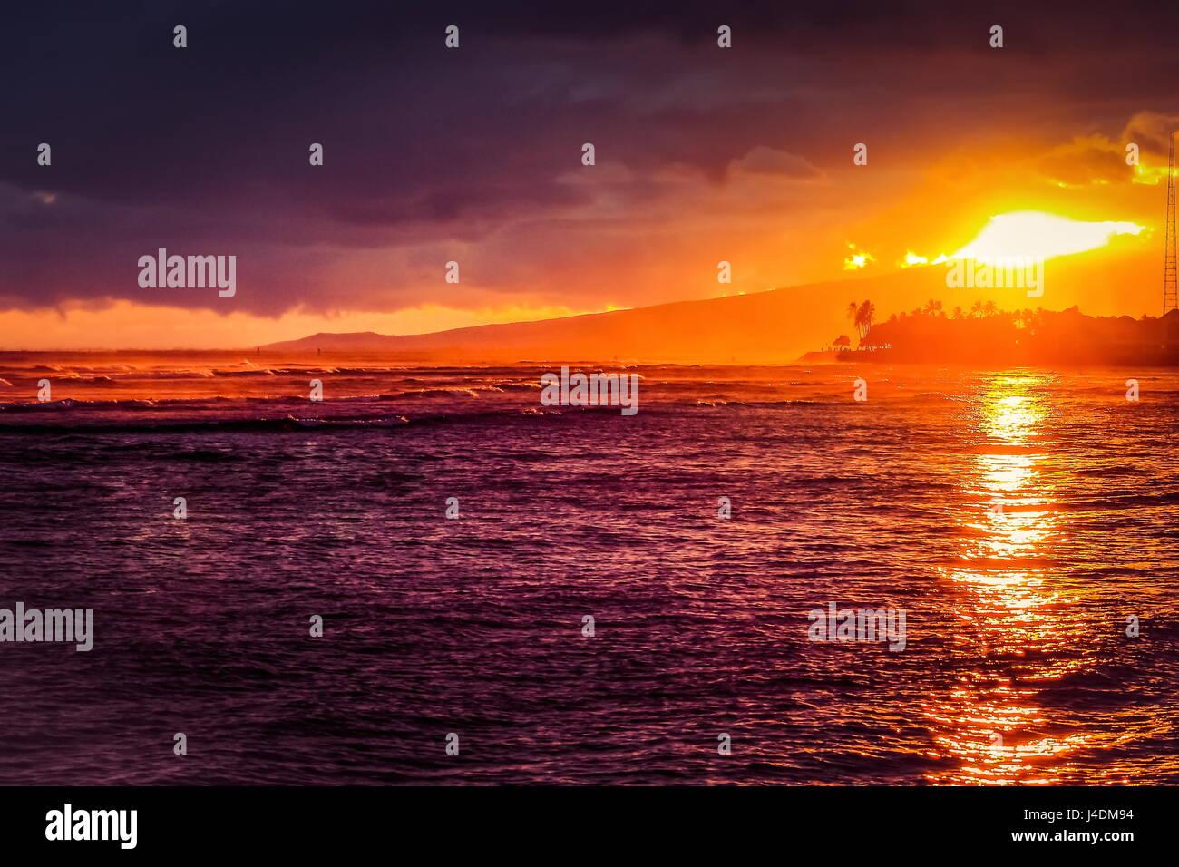 Sunset over Ala Moana Beach, Honolulu, Hawaii on Memorial Day 2016. Stock Photo