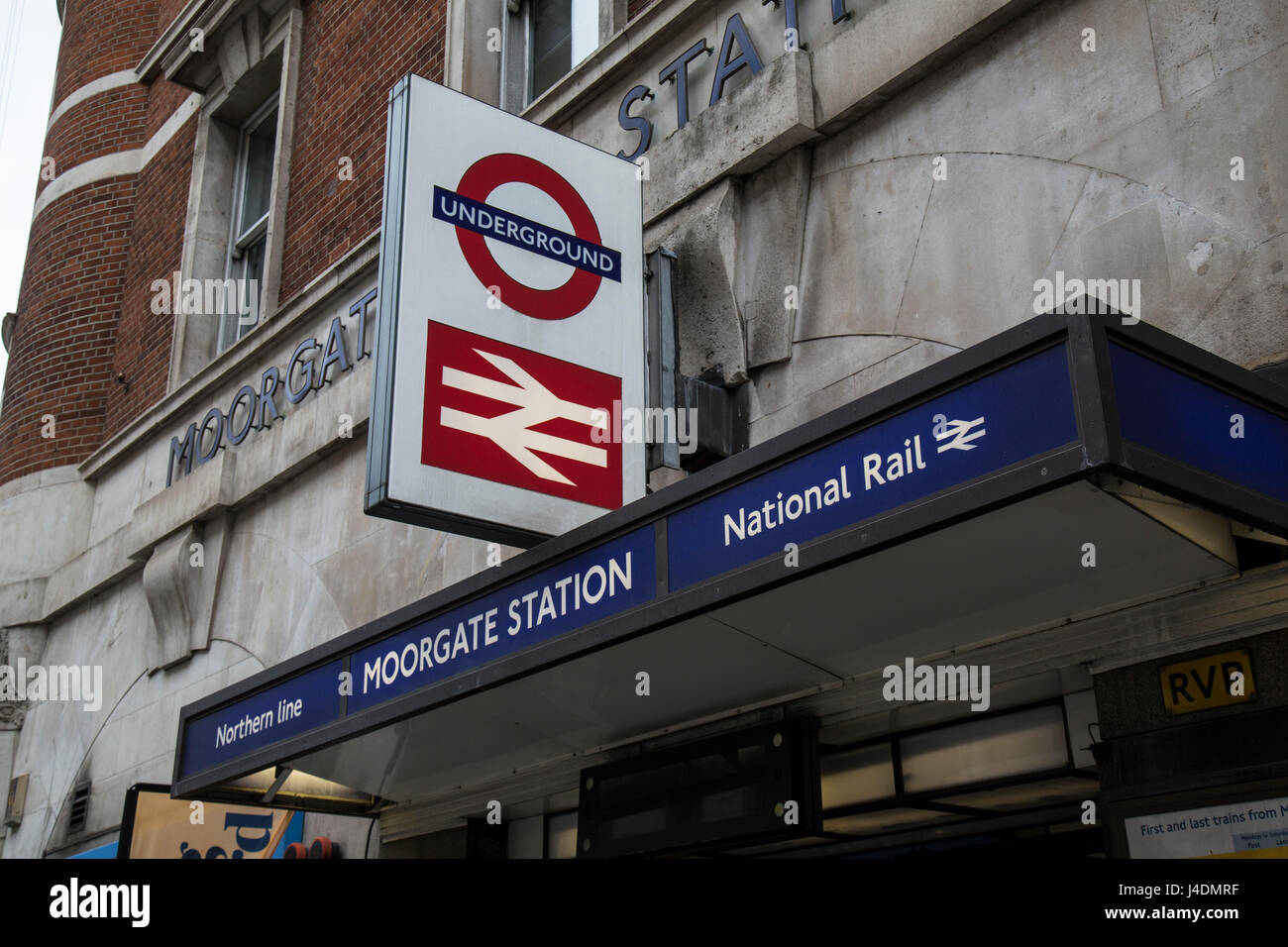 Entrance to Moorgate Underground and National Rail service in London. - Stock Image