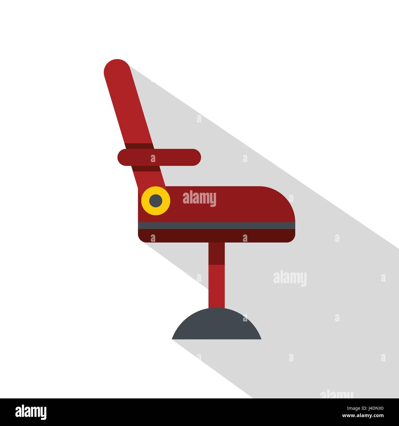 Red barber chair icon, flat style Stock Vector
