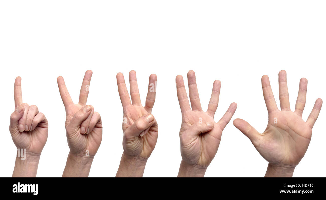 Hand gestures counting from 1 to 5 - Stock Image
