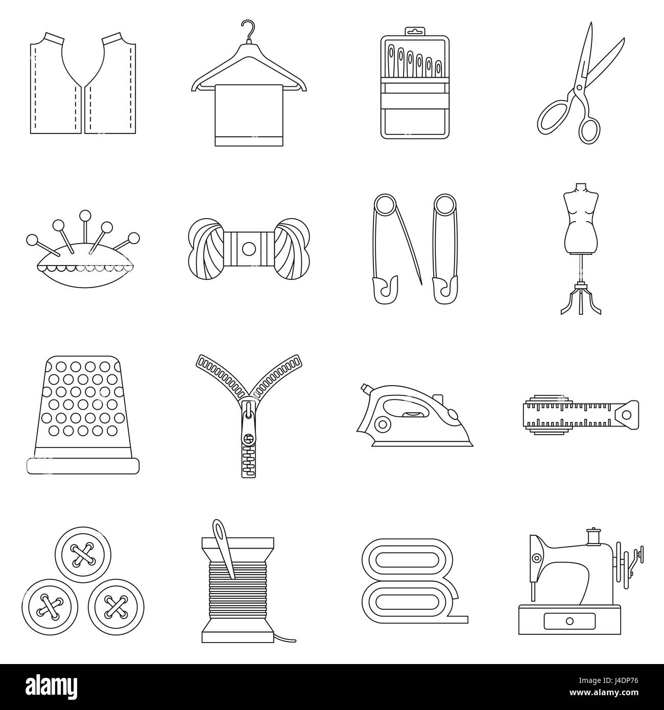 Sewing icons set, outline style - Stock Image