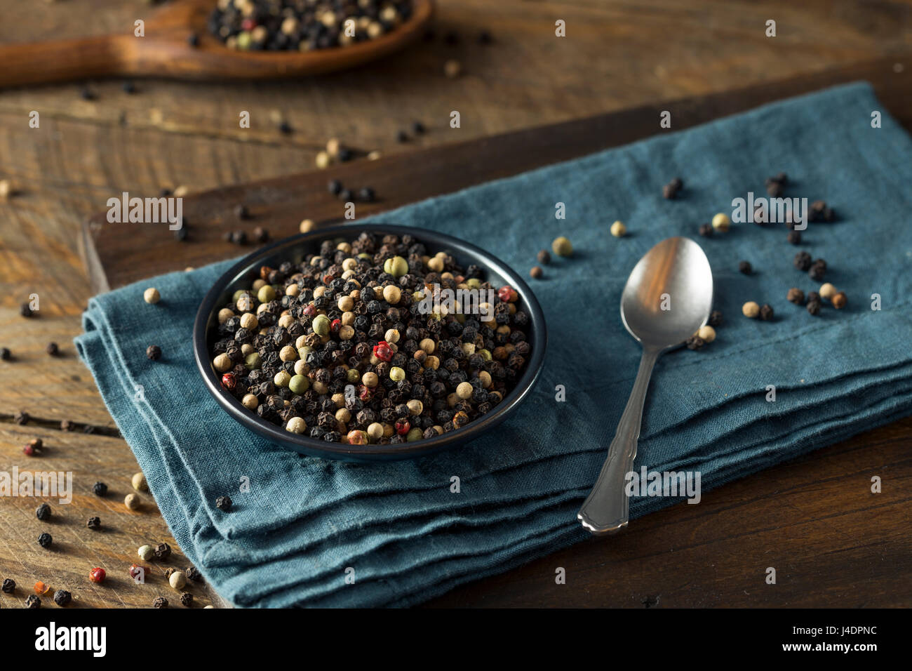 Raw Organic Mixed Peppercorns Ready to Use - Stock Image