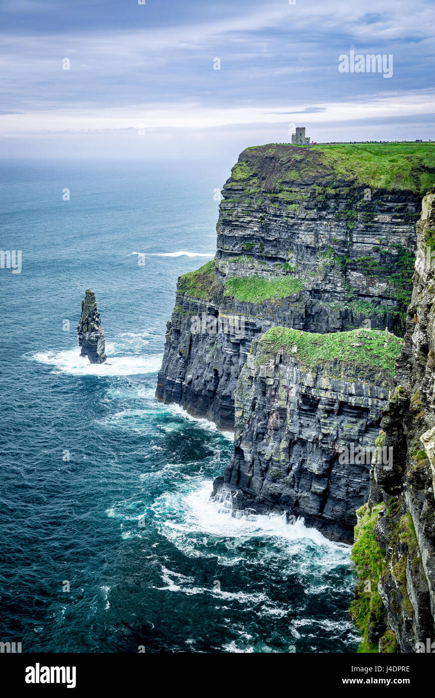 Spectacular Cliffs of Moher on Atlantic Coast of Ireland - Stock Image