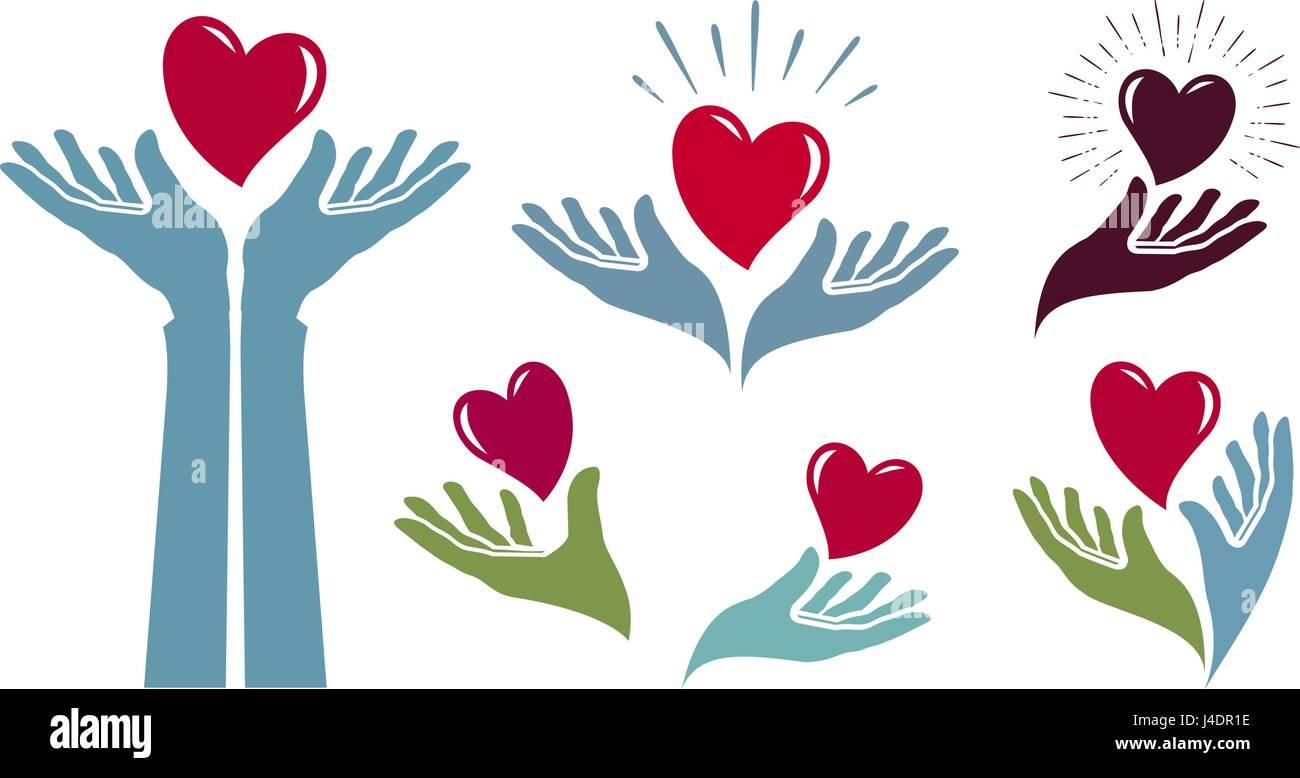 Charity, health logo. Medicine, hospital, life label or icon. Vector illustration - Stock Image