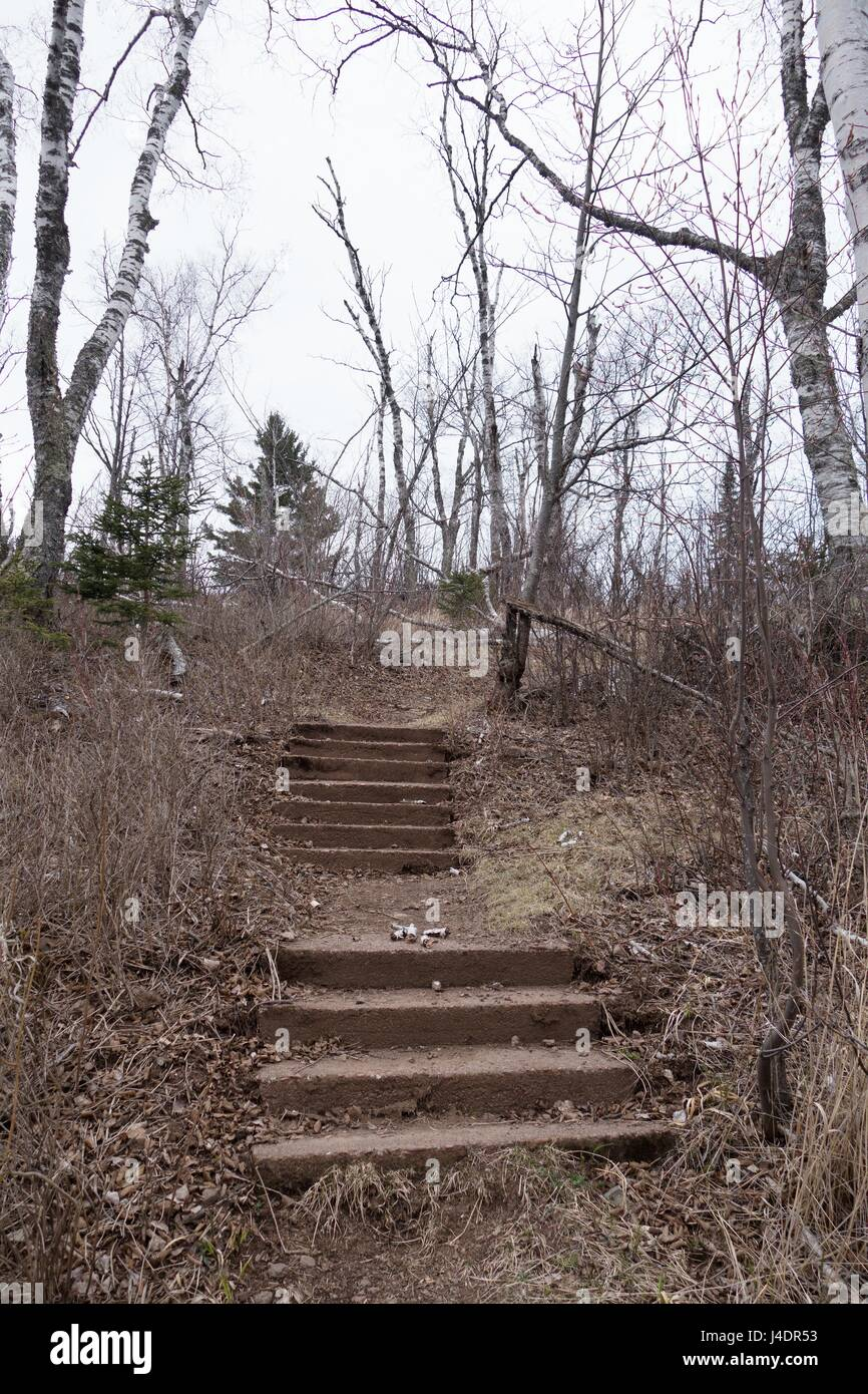 Steps that lead nowhere at Gooseberry Falls State Park in Minnesota, USA. - Stock Image