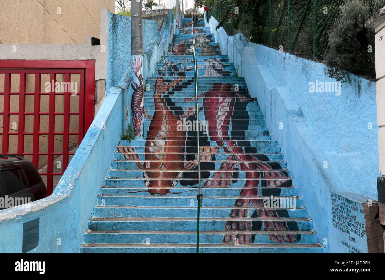 Graffiti on a staircase in the city of Sao Paulo - Brazil - Stock Image
