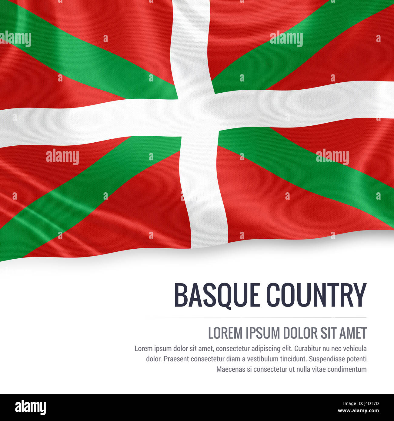 656798c123 Spanish state Basque Country flag waving on an isolated white background.  State name and the
