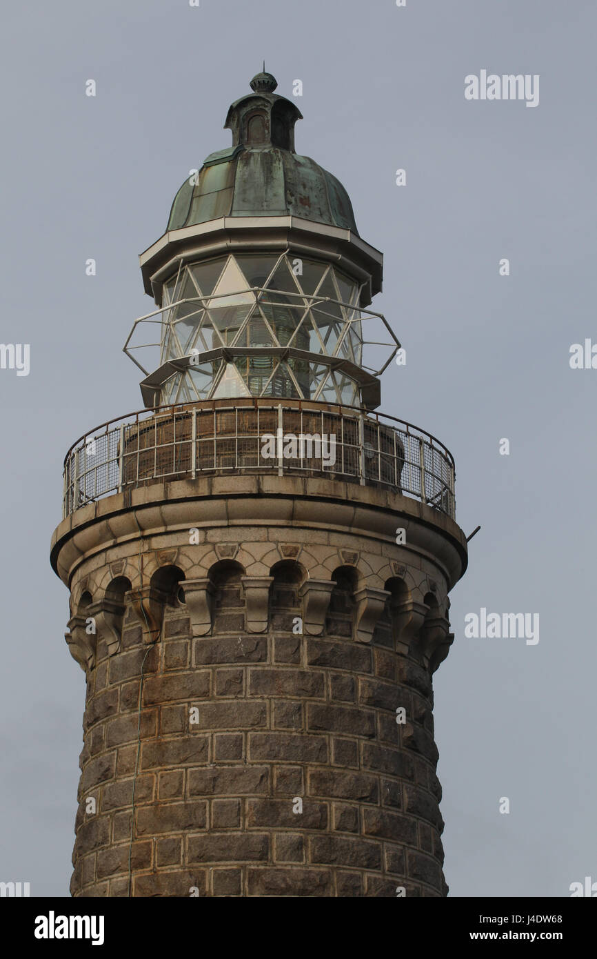 The Skjoldnaes lighthouse on the northern tip of Aero Island, Denmark. - Stock Image