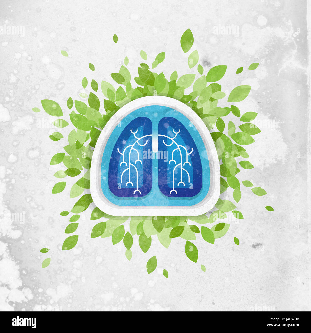 Lungs and leaves illustration, health concept - Stock Image