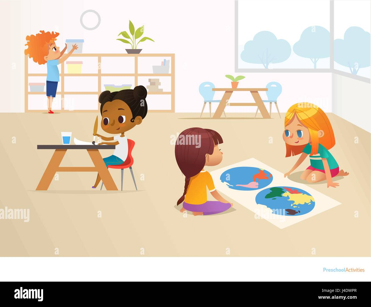 Multiracial children in montessori classroom girls viewing world girls viewing world map and painting picture and boy taking container off shelf educational activities concept vector illustration for poster website gumiabroncs Image collections