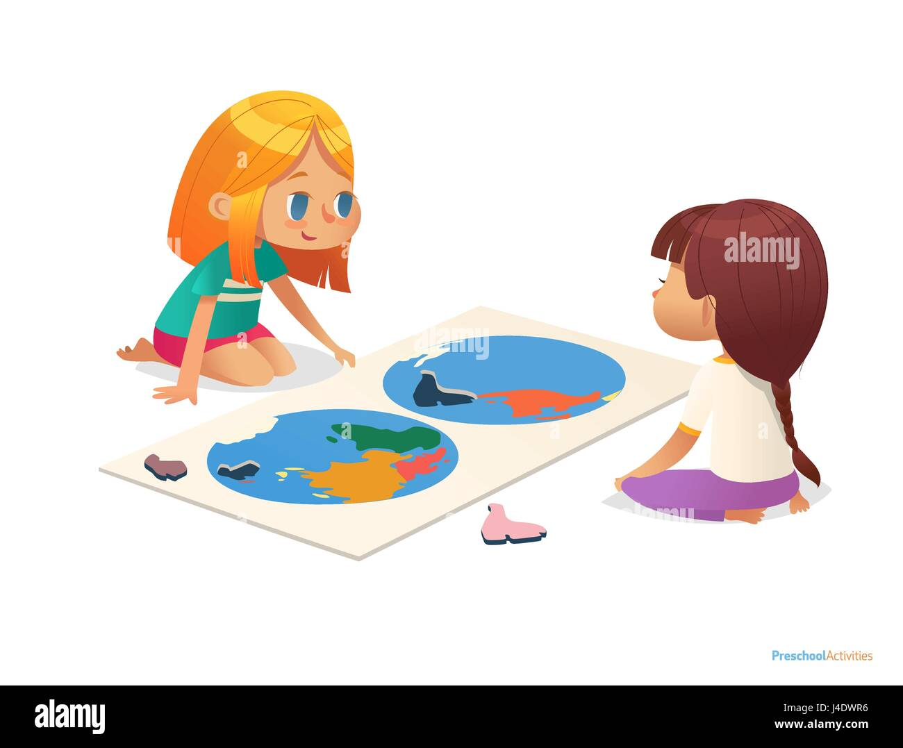 Two girls sitting on floor and trying to assemble world map puzzle two girls sitting on floor and trying to assemble world map puzzle educational activities for children learning through play concept gumiabroncs Image collections