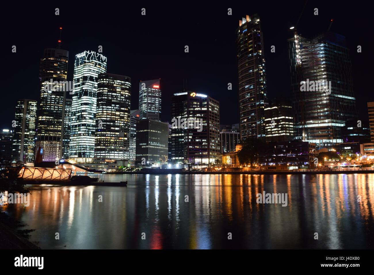 Brisbane City Night Skyline Stock Photo
