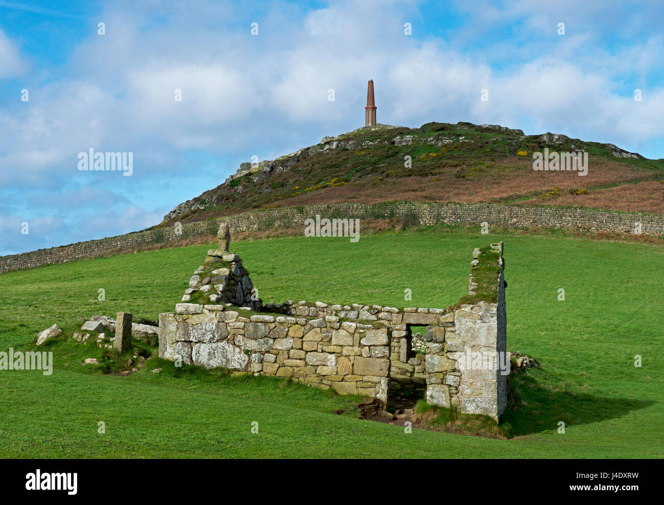 The ruins of St Helen's Oratory, a tiny chapel at Cape Cornwall, Penwith, Cornwall, England - Stock Image