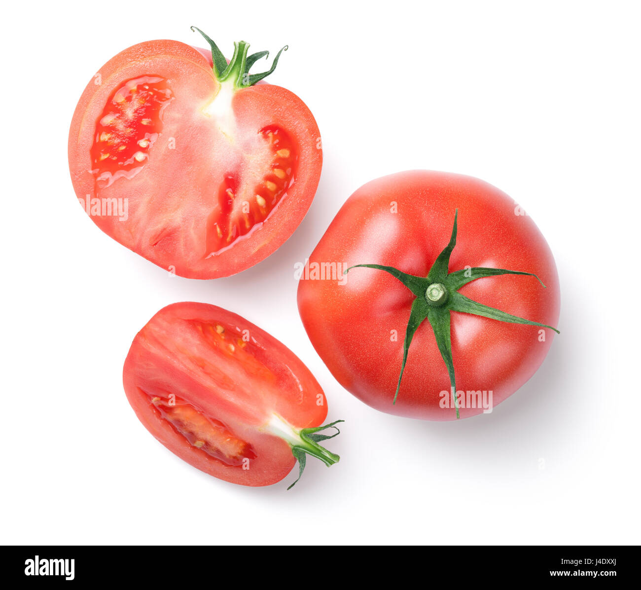 Pink tomatoes isolated on white background. Top view - Stock Image