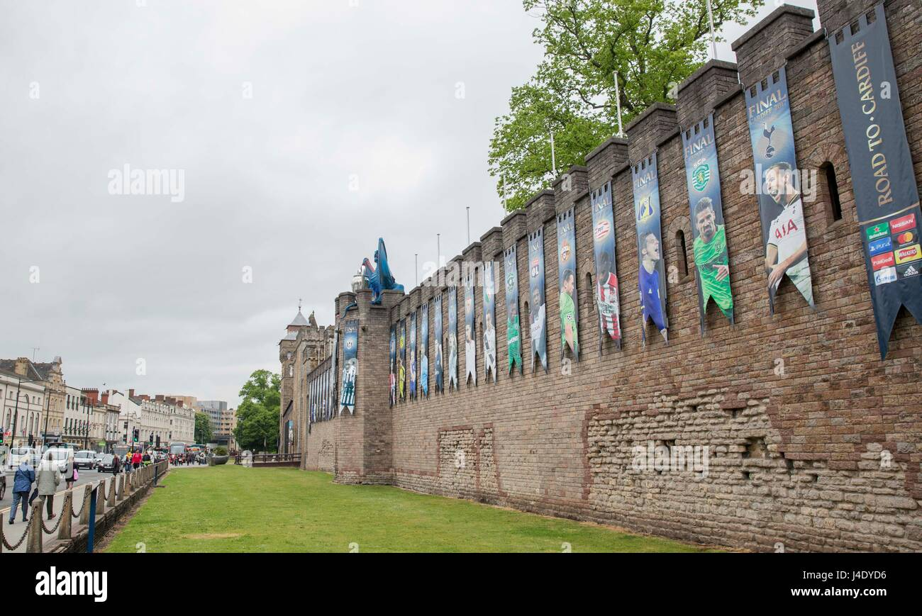 Cardiff, Wales, UK, May 12th 2017. Cardiff Castle decorated with a dragon and branding ahead of the Champions League - Stock Image