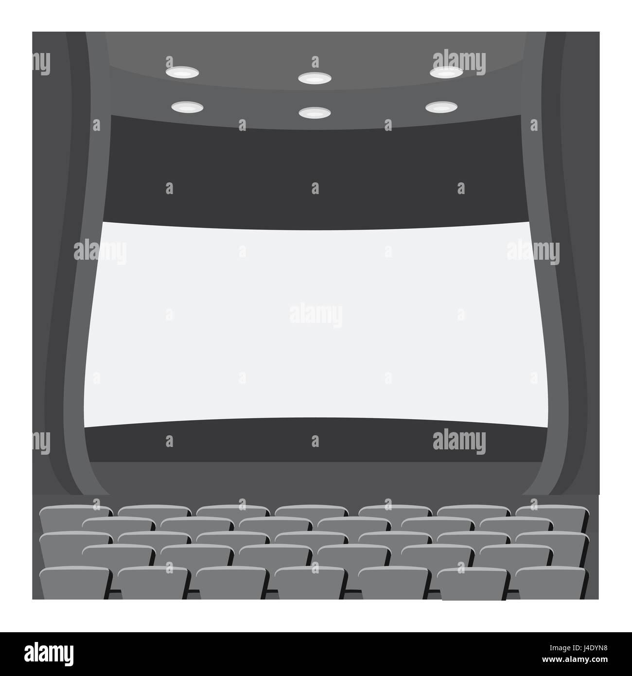 Scene cinema icon, gray monochrome style - Stock Vector