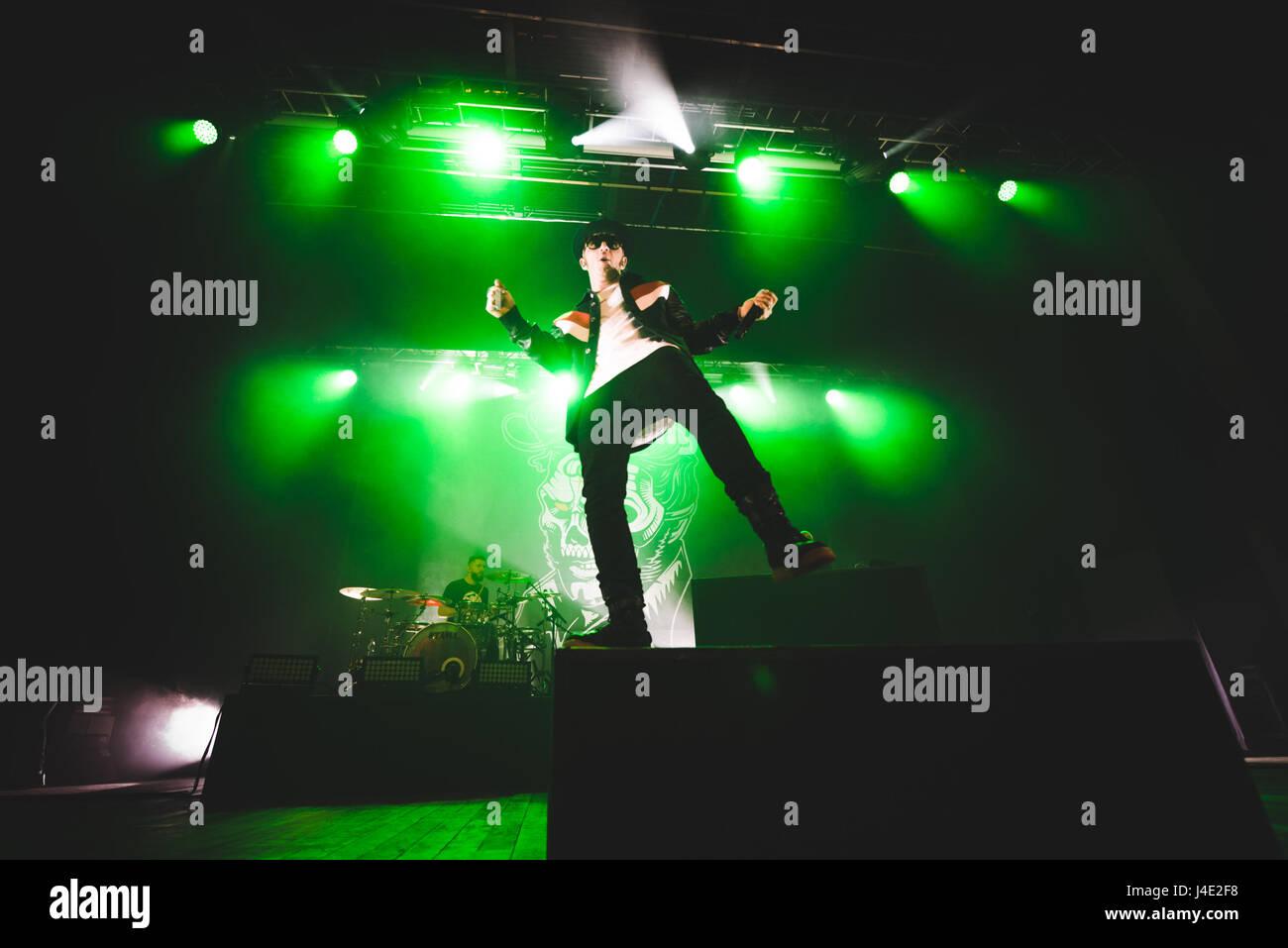 May 11, 2017: the italian rapper Salmo performing live on stage at the Teatro della Concordia in Venaria, near Torino. Stock Photo